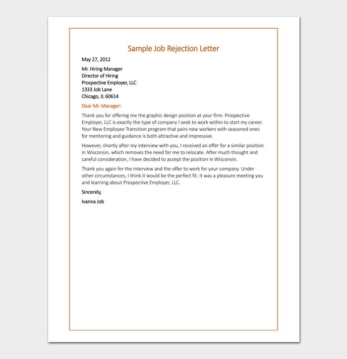 Job Offer Rejection Format