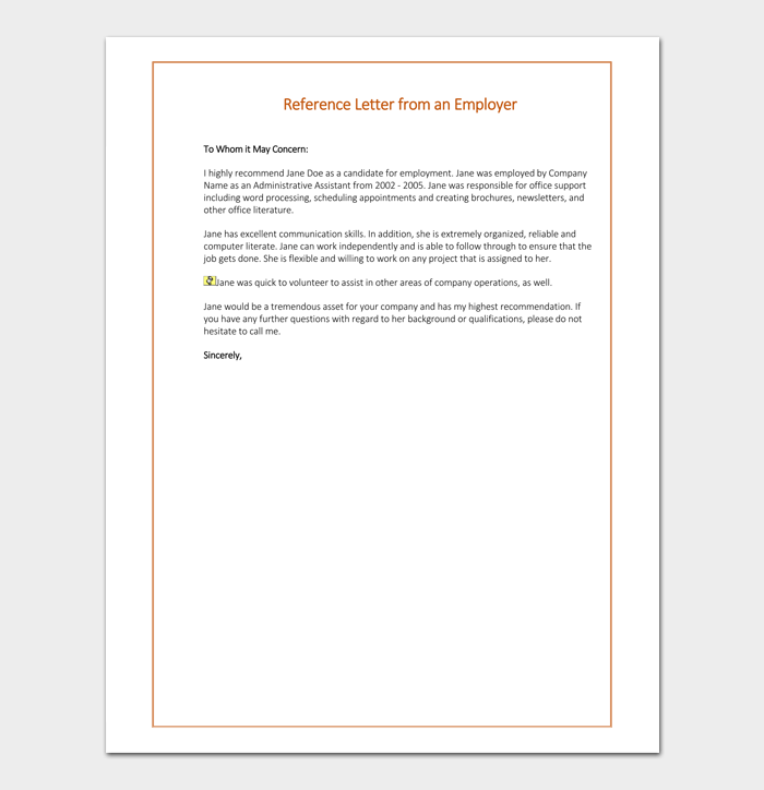 reference letter examples for employment