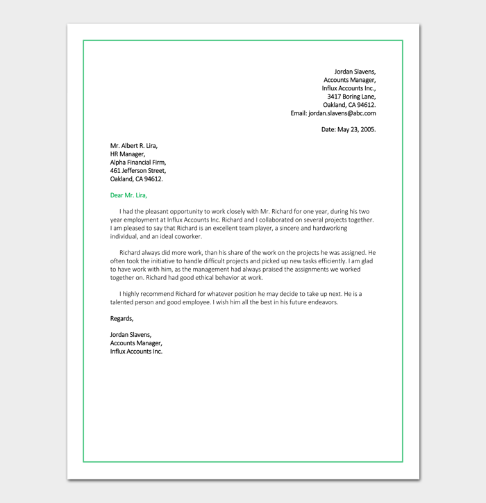 Job Reference Letter for Accountant