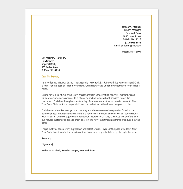 Job Reference Letter for Bank
