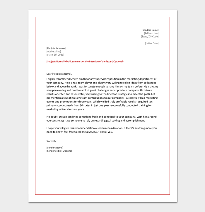 Job Reference Letter for Marketing