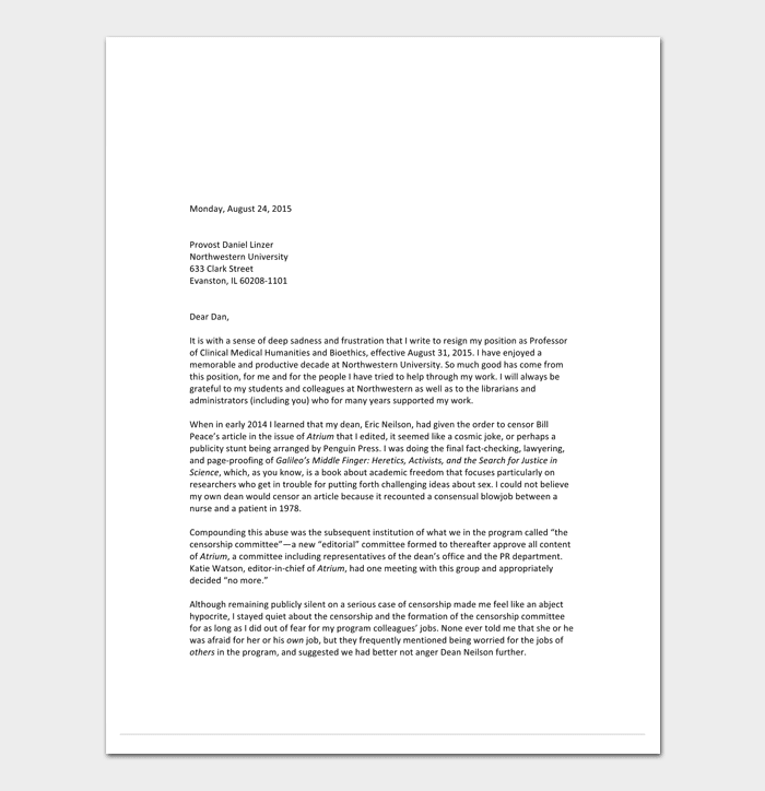 Job Rejection Letter Format