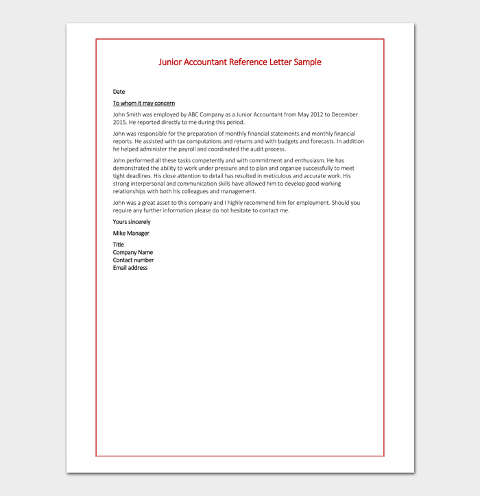 Junior Accountant Reference Letter Sample