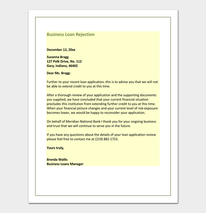 Letter of Business Loan Rejection