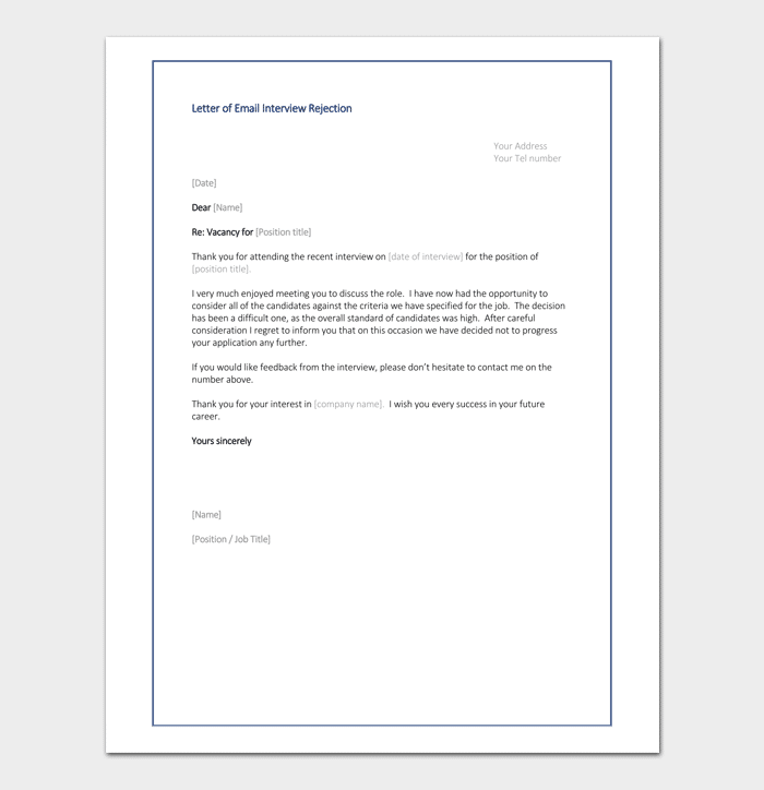Letter of Email Interview Rejection