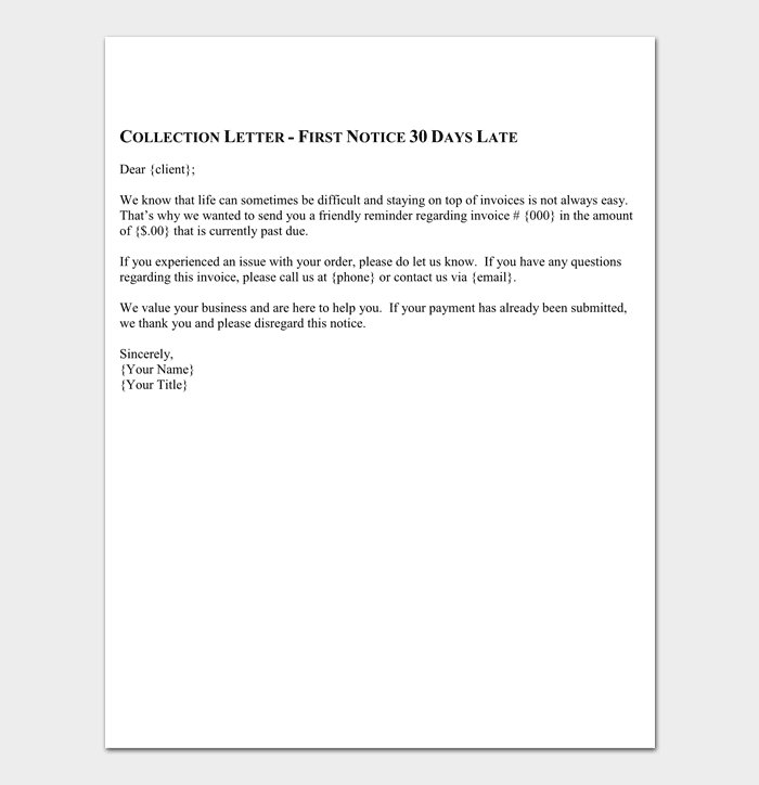 Collection letter template 10 samples examples letter of friendly collection sample spiritdancerdesigns Images