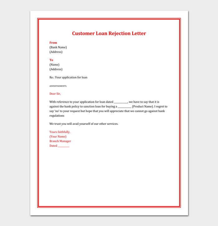 Loan Rejection Letter for Customer