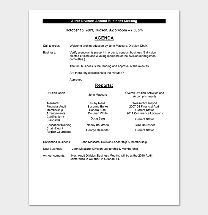 Management Strategy Meeting Agenda Sample