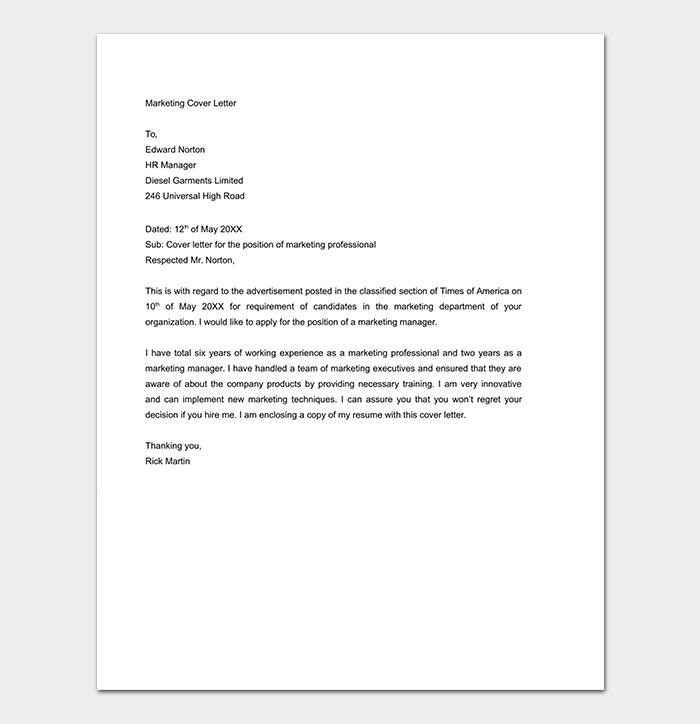 Marketing Cover Letter DOC