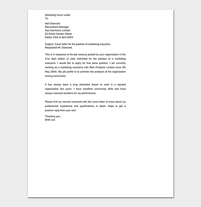 Fashion Marketing Cover Letter Good Display Popular