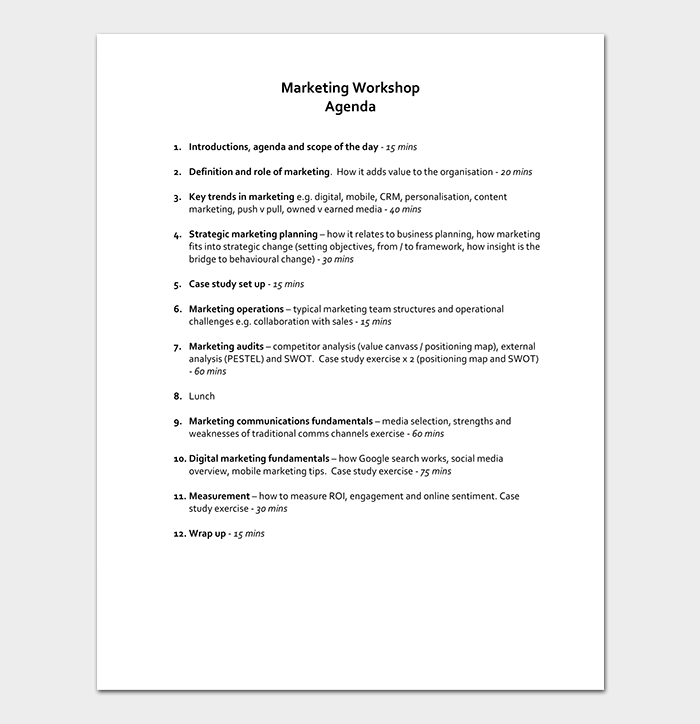 Marketing Workshop Agenda Template
