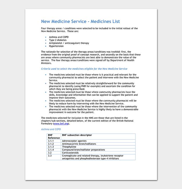 Medicine Service List