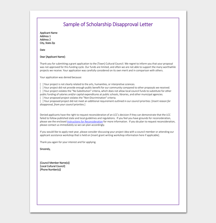 Merit Scholarship Rejection Letter Sample