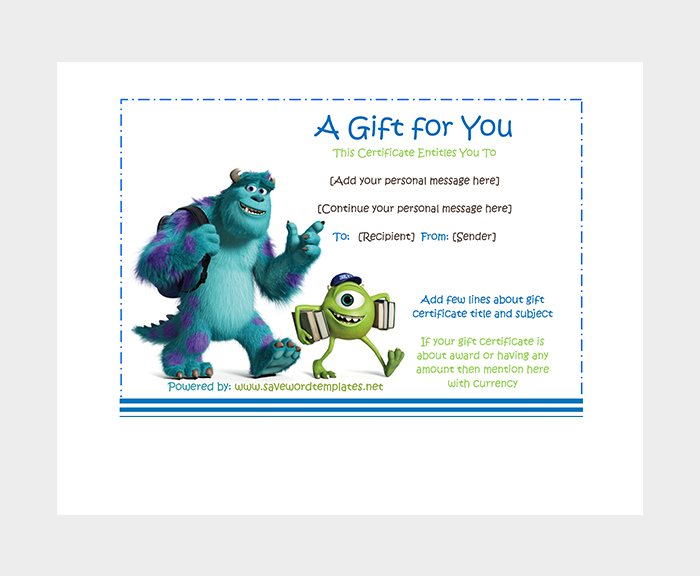 Monster University Gift Certificate
