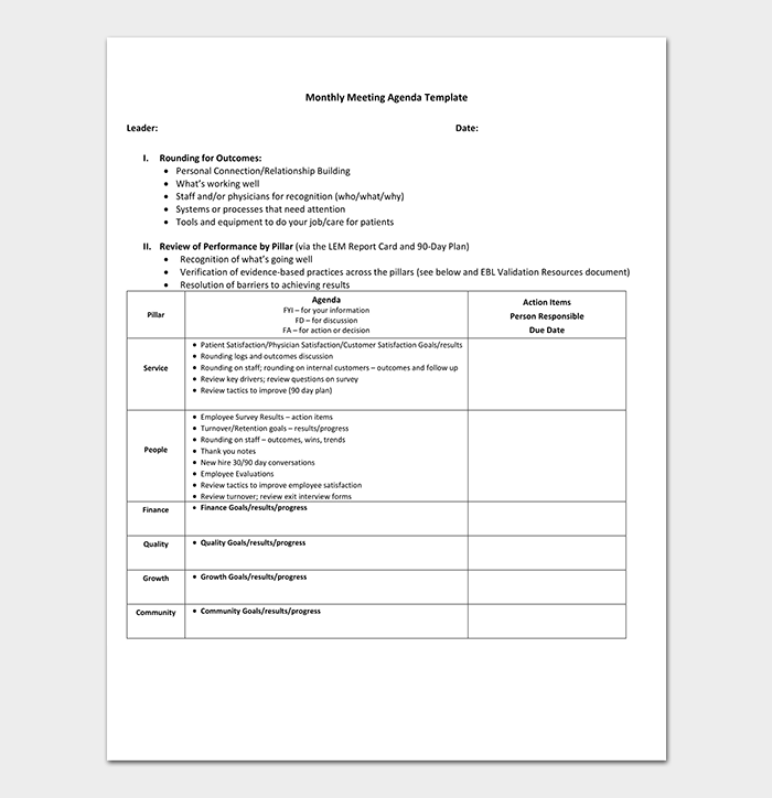 Management Meeting Agenda Template 14 Word Excel PDF