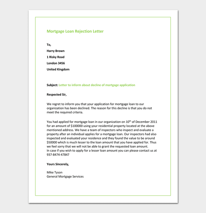 Mortgage Loan Rejection Letter Format