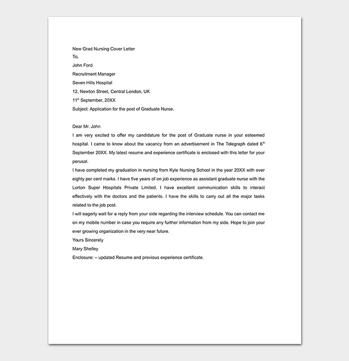 Nursing Cover Letter Word
