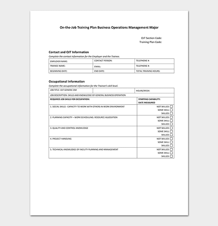 On The Job Training Plan Template