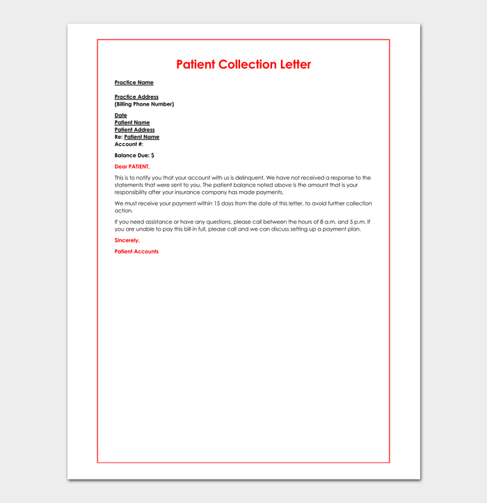 Collection letter template 10 samples examples patient collection letter template sample thecheapjerseys Choice Image