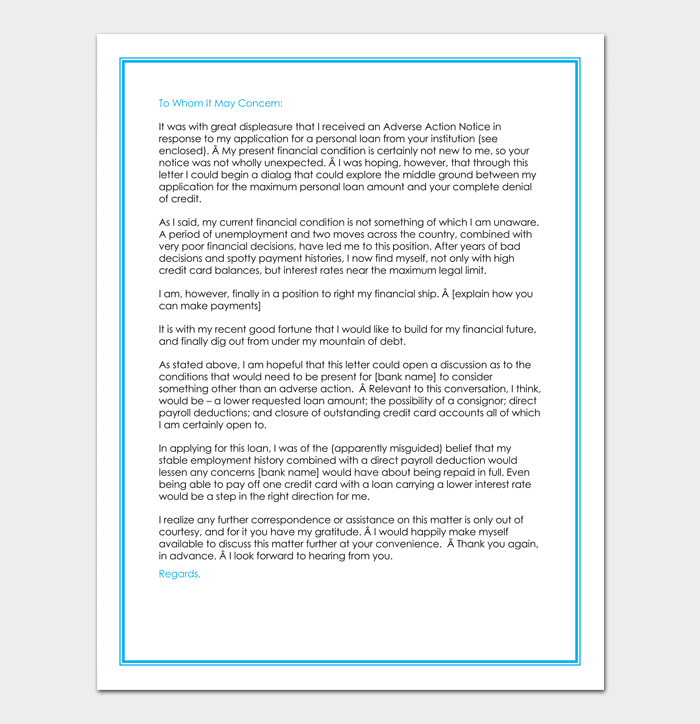 Personal Loan Rejection Letter Sample