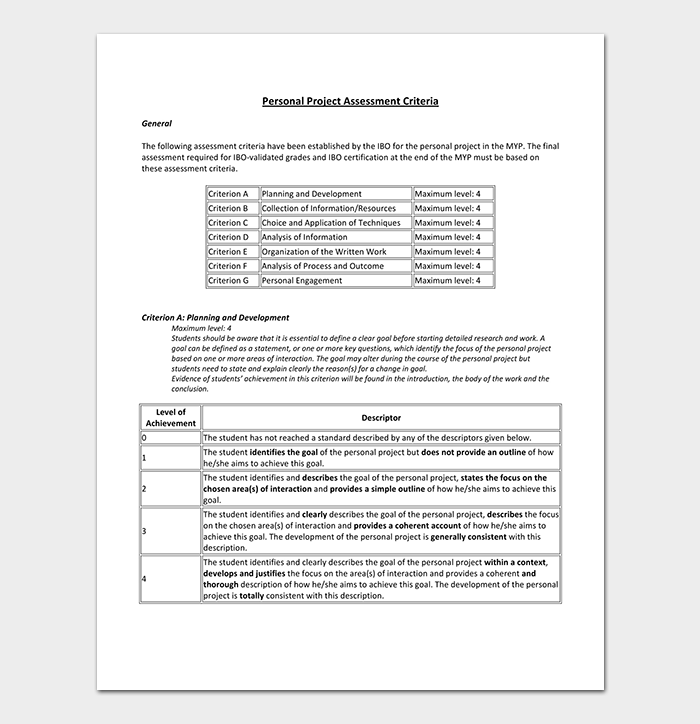 Personal Project Assessment Criteria Template
