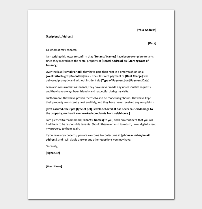 personal rental reference letter example
