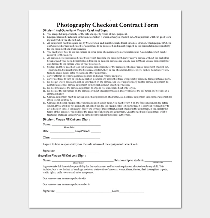 Photography Checkout Contract