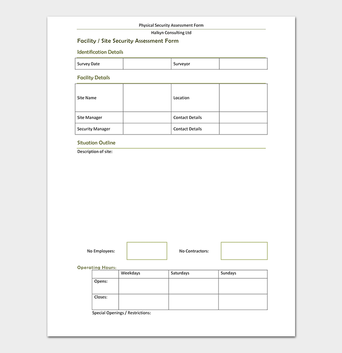 Risk assessment form template 40 examples in word pdf for Physical security survey template