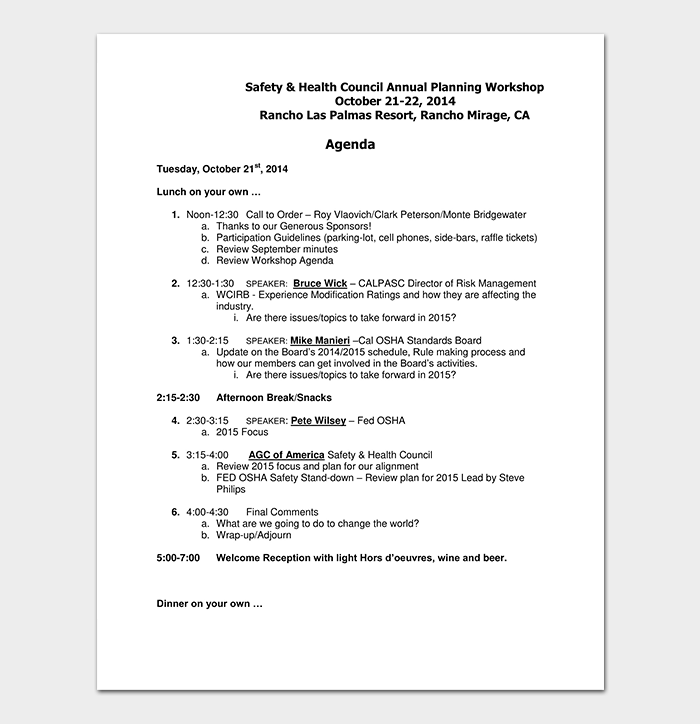 Planning Workshop Agenda Template