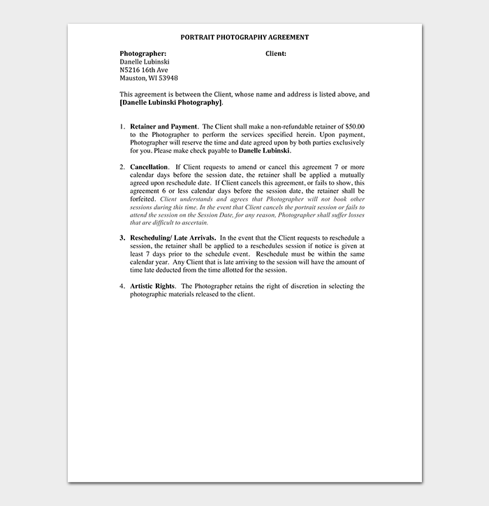 Portrait Photography Agreement Contract Sample