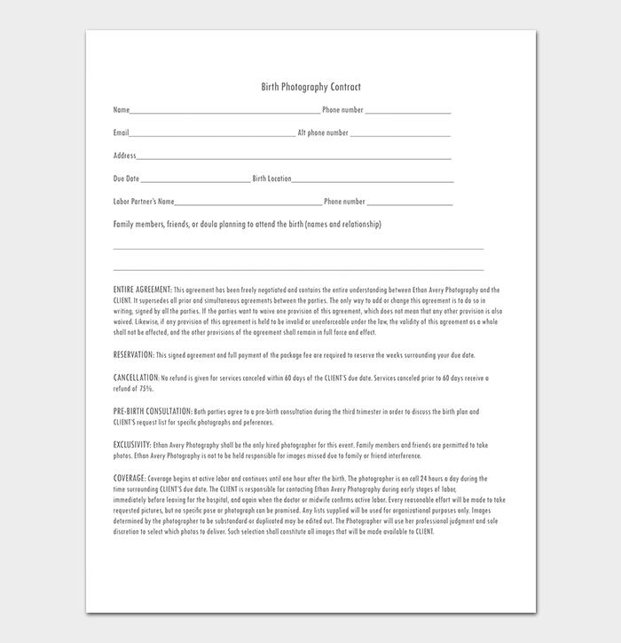 Printable Birth Photography Contract