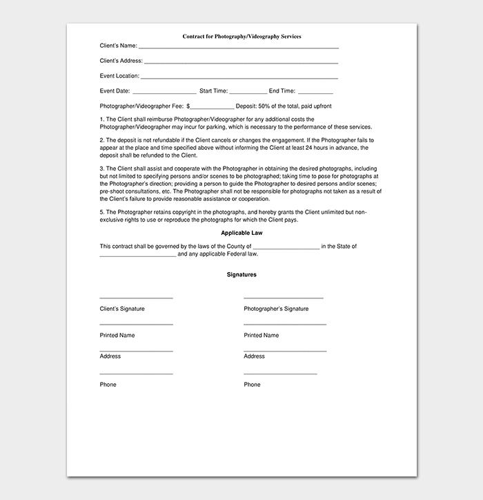 Printable Photography Contract