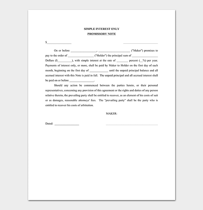 printable promissory note template
