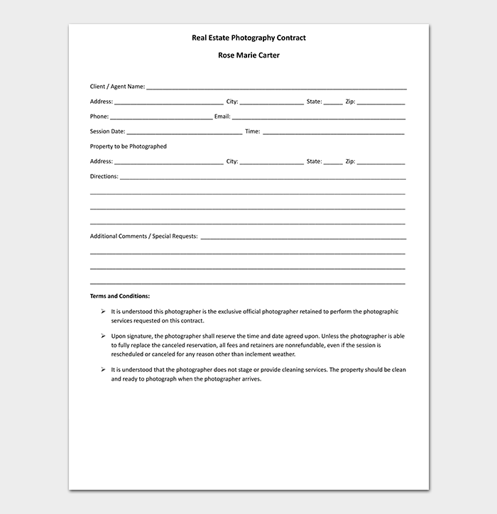 Printable Real Estate Photography Contract