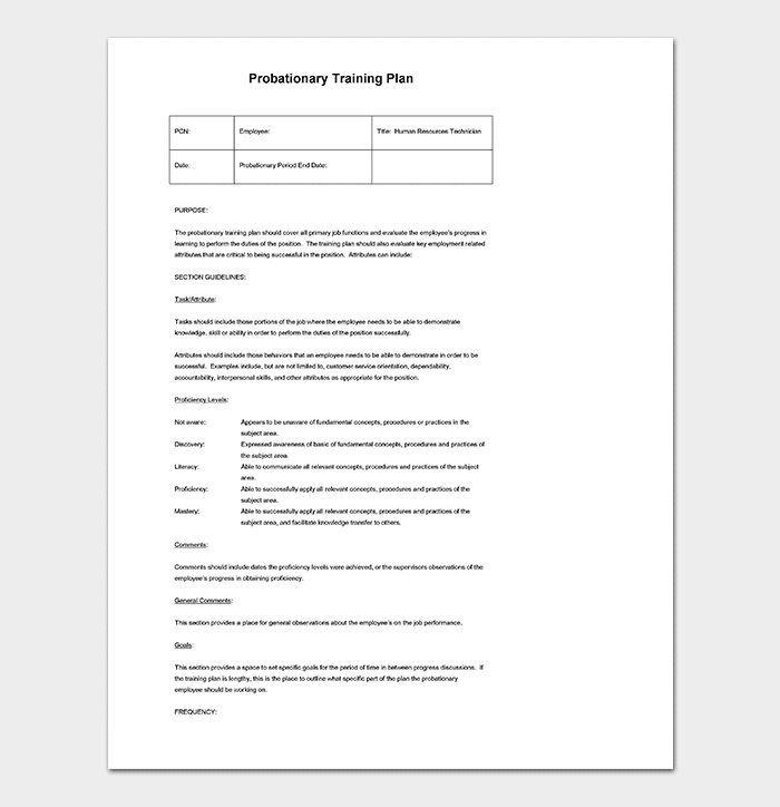 Probationary Training Plan Template