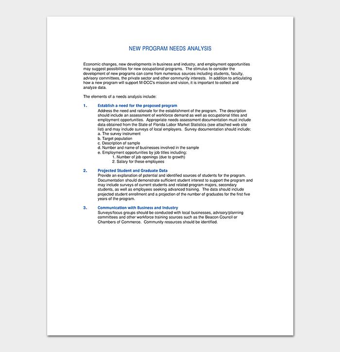 Program Needs Analysis Sample