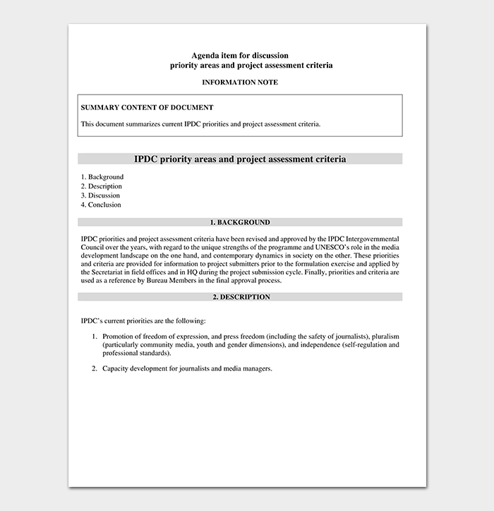 Project Assessment Criteria Template