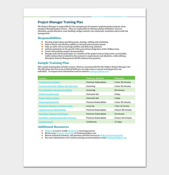 Project Manager Training Plan Template