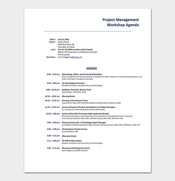 Project Workshop Agenda Template