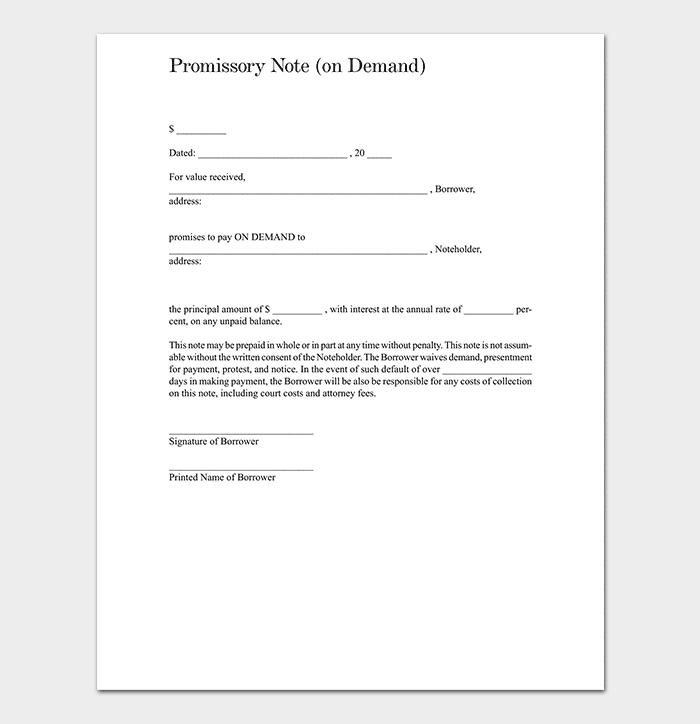 Promissory Note On Demand