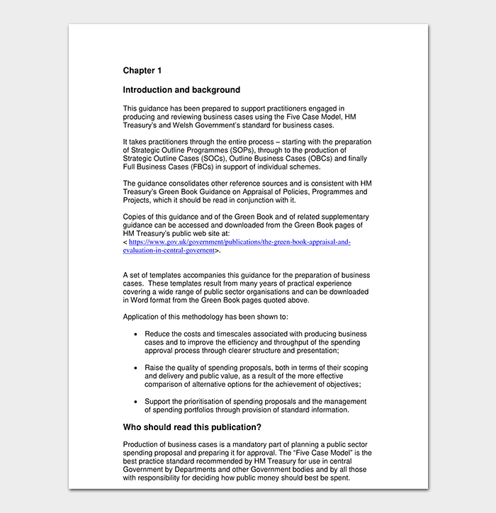 public sector business case template