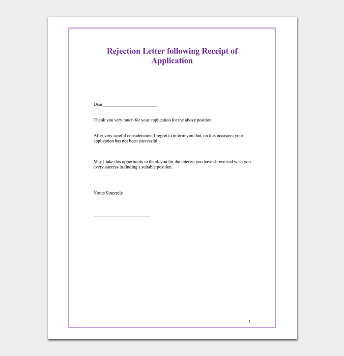 Receipt of Application Rejection Letter Template
