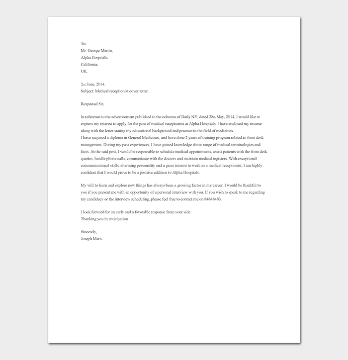 Medical Receptionist Cover Letter No Experience from images.docformats.com