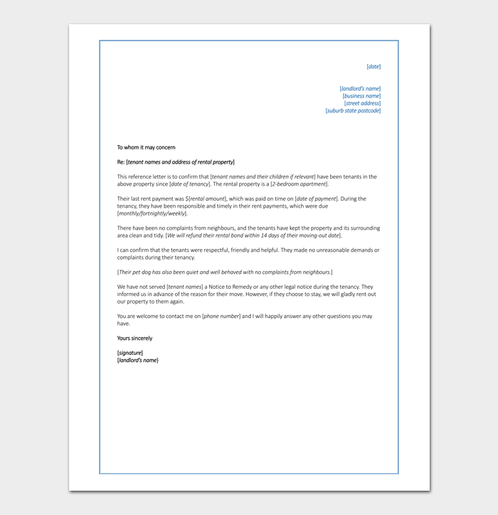 Reference Letter for Commercial Rental