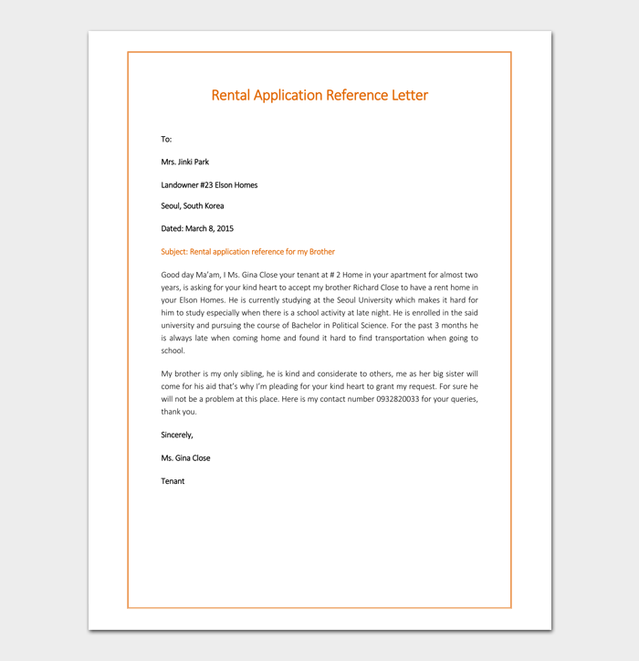 Reference Letter of Rental Application