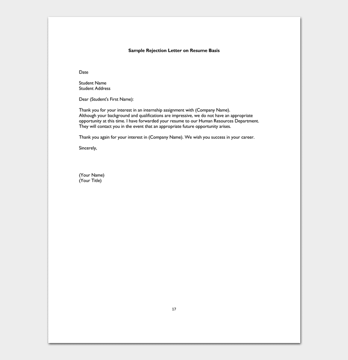 Internship Rejection Letter Template - (Sample Letters)