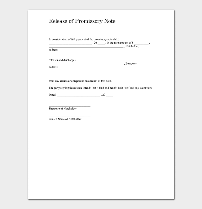 Promissory note template 20 free for word pdf release of promissory note template thecheapjerseys Image collections