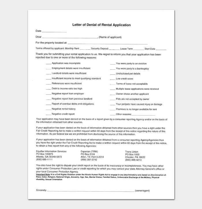 Rental Application Rejection Format