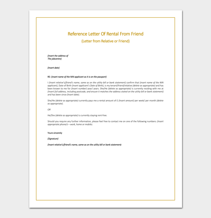 Rental reference letter template 12 samples examples rental reference letter from friend expocarfo Images