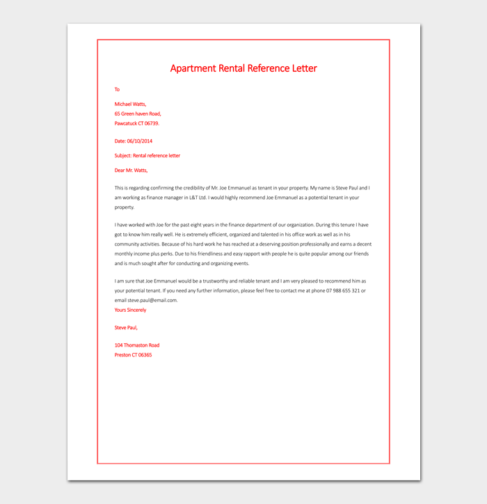 Tenant Recommendation Letter | Rental Reference Letter Template 12 Samples Examples